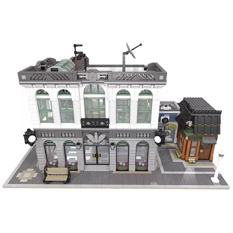 MOC 10811 Brick Bank with Coffee Shop Modular Buildings by dagupa MOC FACTORY 2 - MOC FACTORY