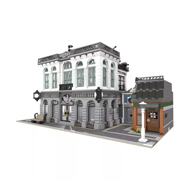 MOC 10811 Brick Bank with Coffee Shop Modular Buildings by dagupa MOC FACTORY 3 - MOC FACTORY