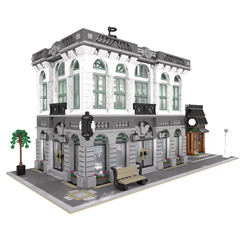 MOC 10811 Brick Bank with Coffee Shop Modular Buildings by dagupa MOC FACTORY 4 - MOC FACTORY