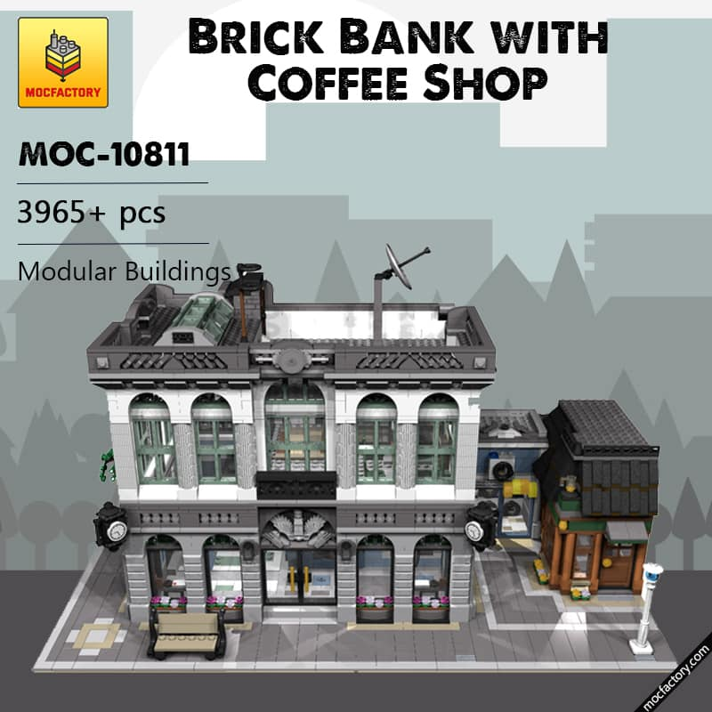 MOC 10811 Brick Bank with Coffee Shop Modular Buildings by dagupa MOC FACTORY - MOC FACTORY