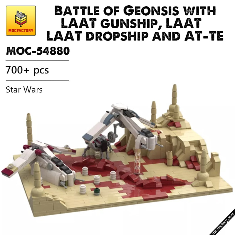 MOC 54880 Battle of Geonsis with LAAT gunship LAAT dropship and AT TE Star Wars by Red5 Leader MOC FACTORY - MOC FACTORY