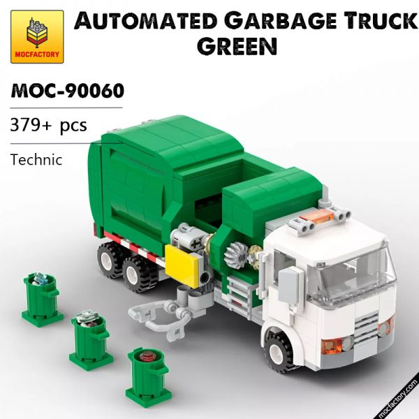 MOC 90060 green Automated Garbage Truck Technic MOC FACTORY - MOC FACTORY