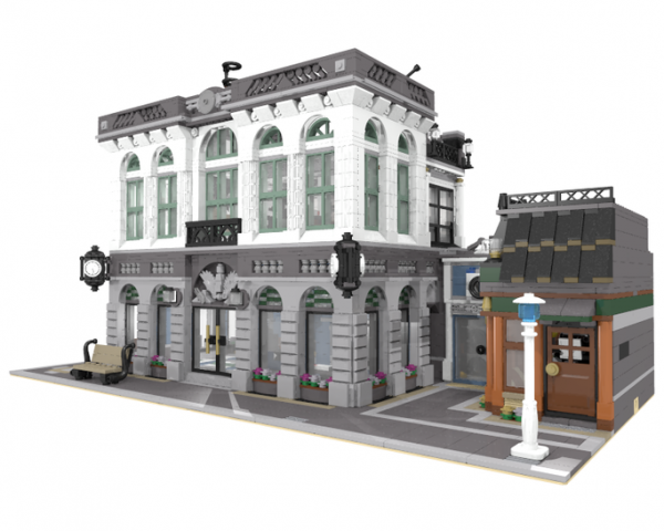 moc 10811 brick bank with coffee shop block set moc factory 1 - MOC FACTORY