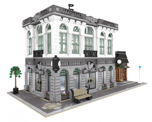 moc 10811 brick bank with coffee shop block set moc factory 2 - MOC FACTORY