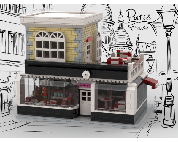 moc 33137 french caffee and cake shop block set moc factory - MOC FACTORY