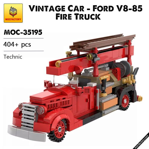 MOC 35195 Vintage Car Ford V8 85 Fire Truck 1937 Technic by SugarBricks MOC FACTORY - MOC FACTORY