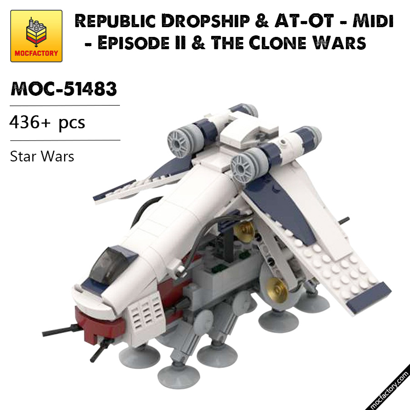 MOC 51483 Republic Dropship AT OT Midi Episode II The Clone Wars Star Wars by 6211 MOC FACTORY - MOC FACTORY