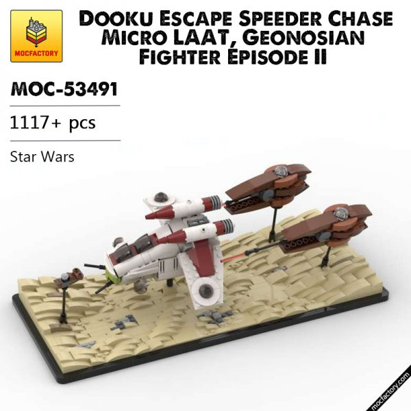 MOC 53491 Dooku Escape Speeder Chase Micro LAAT Geonosian Fighter Episode II Star Wars by 6211 MOC FACTORY - MOC FACTORY