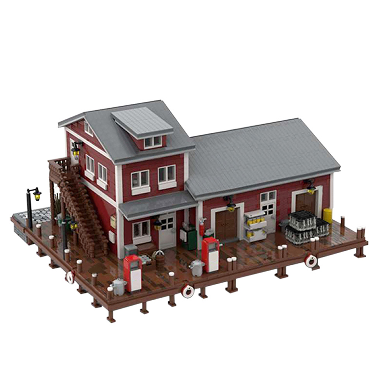 MOC 54693 Dockside Fuel and Oil Modular Building by jepaz MOC FACTORY 2 - MOC FACTORY
