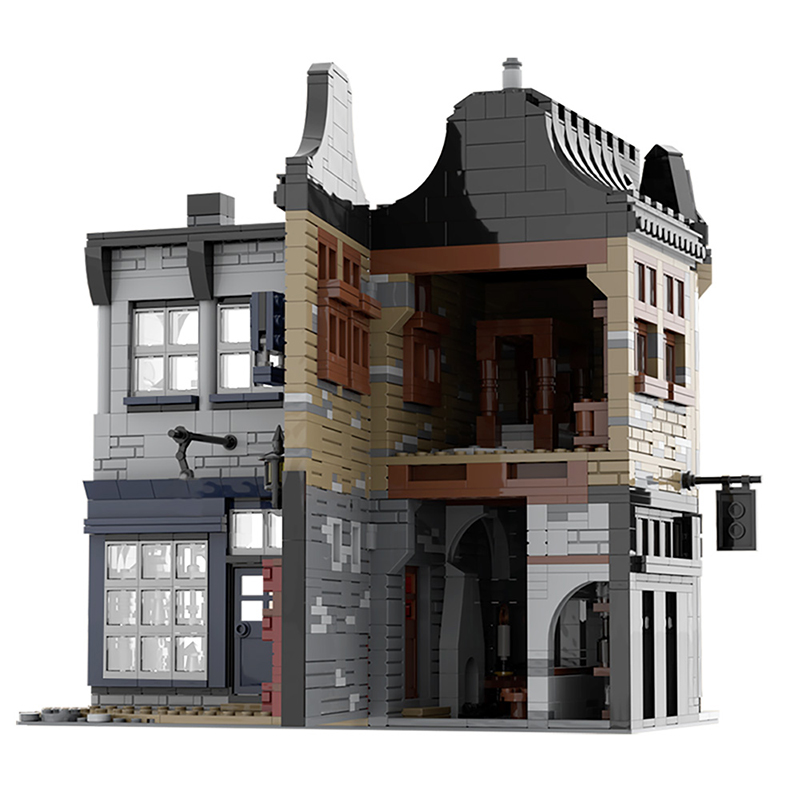 MOC 55035 Leaky Cauldron Wiseacres Wizarding Equipment Diagon Alley Movie by JL 2 - MOC FACTORY