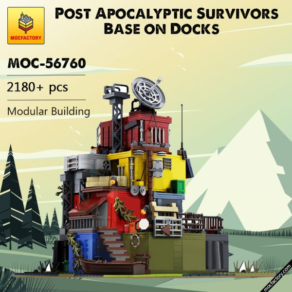MOC 56760 Post Apocalyptic Survivors Base on Docks Modular Building by MOCOPOLIS MOC FACTORY - MOC FACTORY