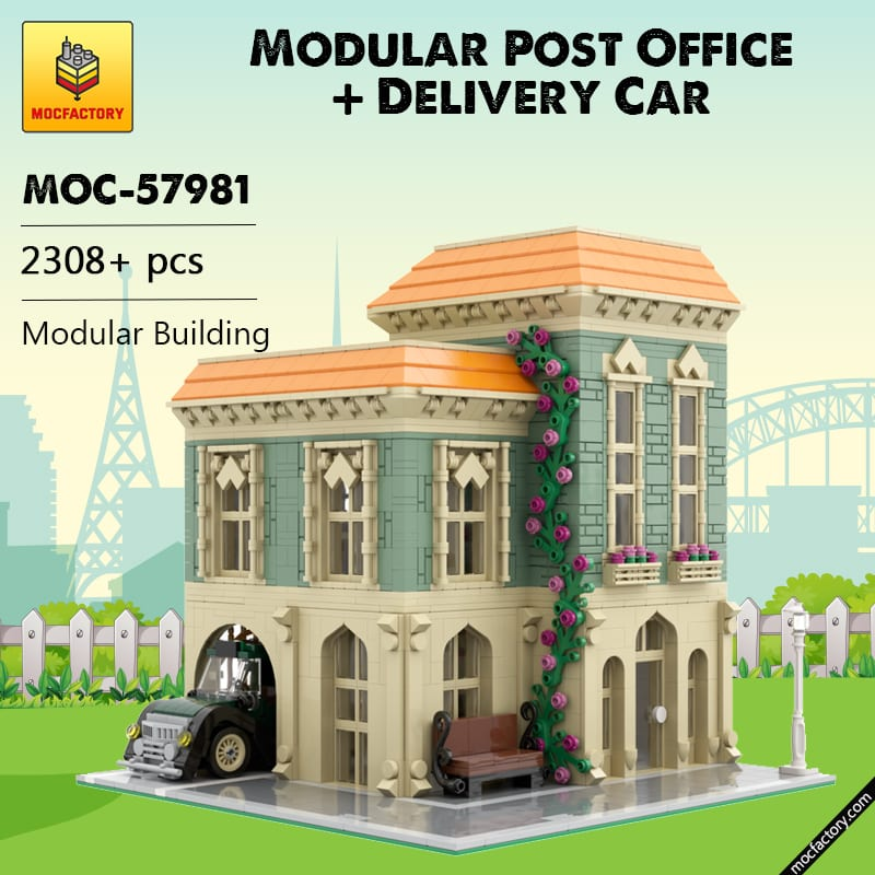 MOC 57981 Modular Post Office Delivery Car Modular Building by MOCExpert MOC FACTORY - MOC FACTORY