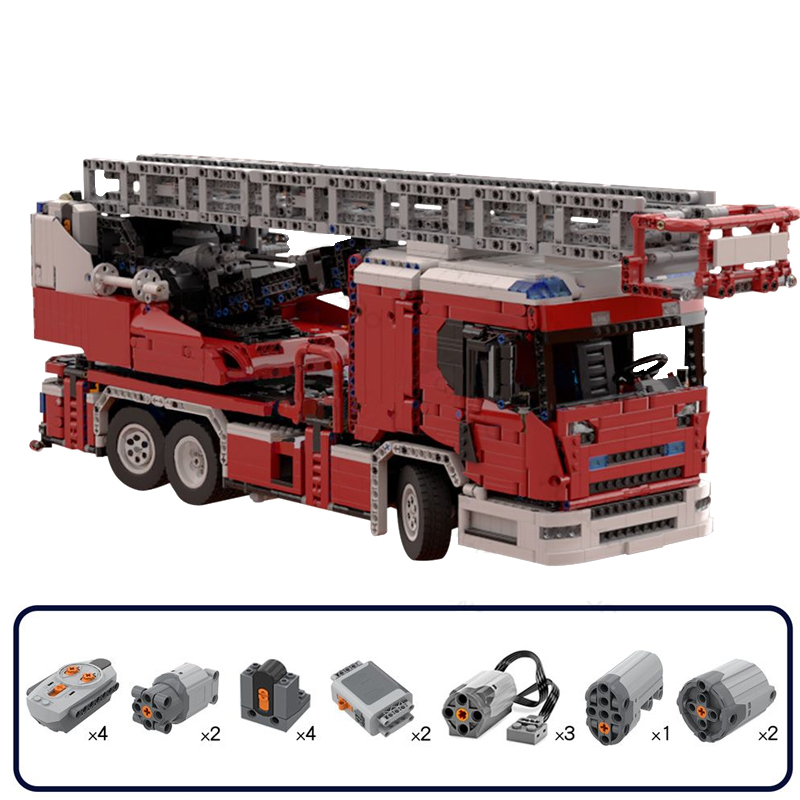 MOC 60361 Scania L fire engine with turntable ladder full RC Technic by Furchtis MOC FACTORY 3 - MOC FACTORY