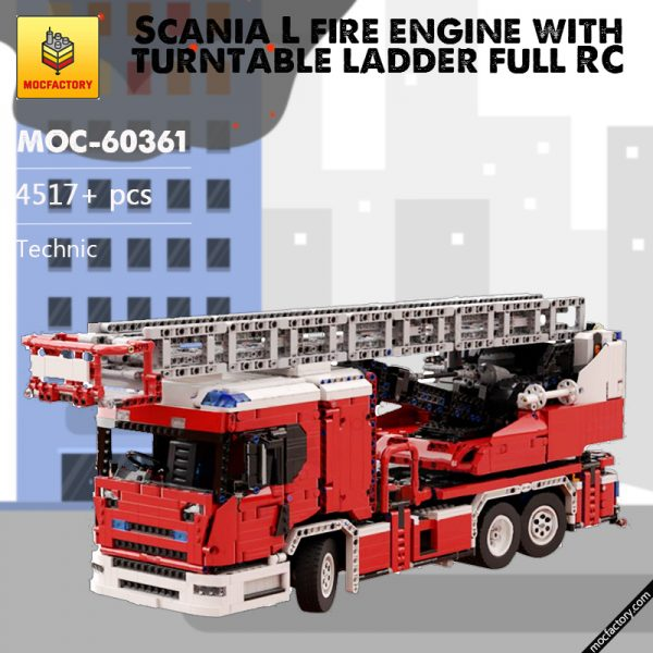 MOC 60361 Scania L fire engine with turntable ladder full RC Technic by Furchtis MOC FACTORY - MOC FACTORY