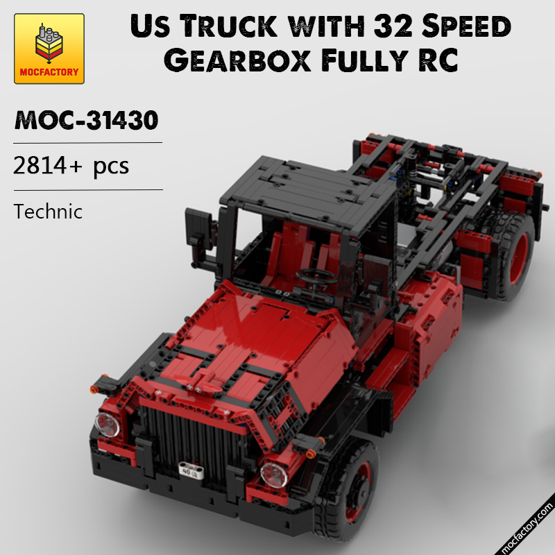 MOC 31430 Us Truck with 32 Speed Gearbox Fully RC Technic by B4 MOC FACTORY - MOC FACTORY