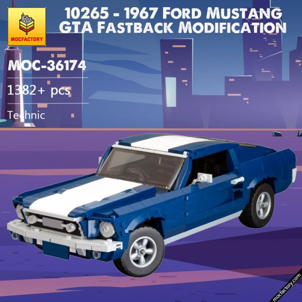 MOC 36174 10265 1967 Ford Mustang GTA Fastback Modification Technic by NikolayFX MOC FACTORY - MOC FACTORY