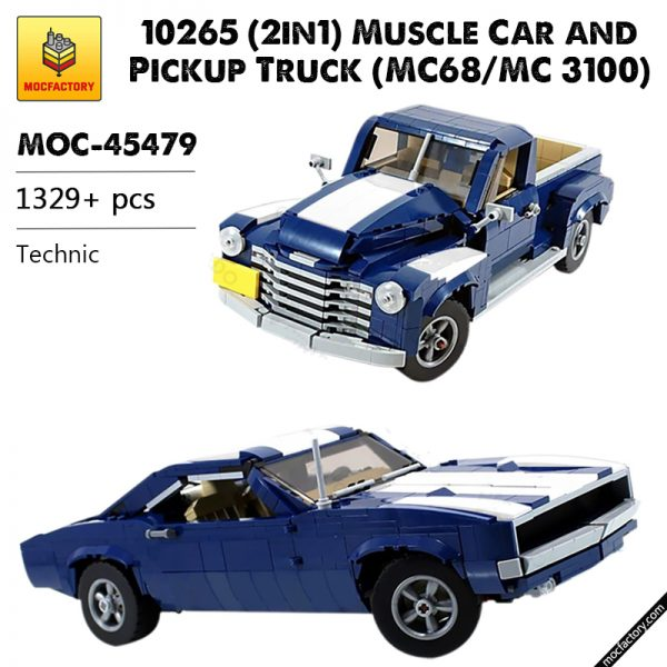 MOC 45479 10265 2in1 Muscle Car and Pickup Truck MC68MC 3100 Technic by firas legocars MOC FACTORY - MOC FACTORY