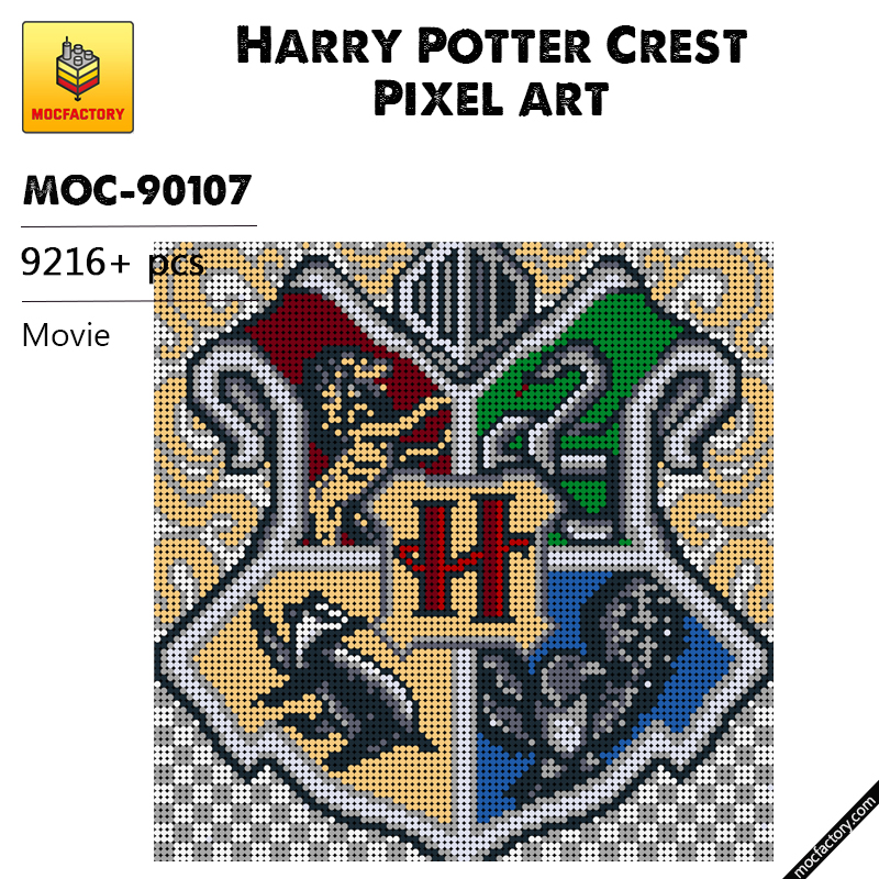 MOC 90107 Harry Potter Crest Pixel art Movie MOC FACTORY - MOC FACTORY
