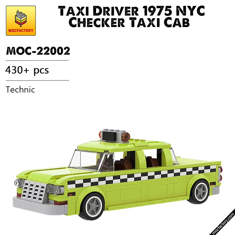 MOC 22002 Taxi Driver 1975 NYC Checker Taxi Cab Technic by mkibs MOC FACTORY - MOC FACTORY