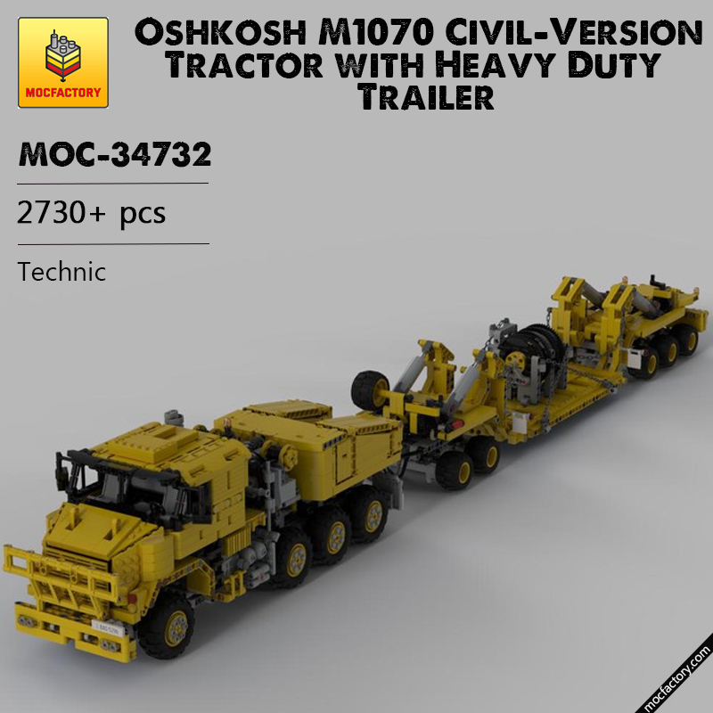 MOC 34732 Oshkosh M1070 Civil Version Tractor with Heavy Duty Trailer Technic by legolaus MOC FACTORY - MOC FACTORY