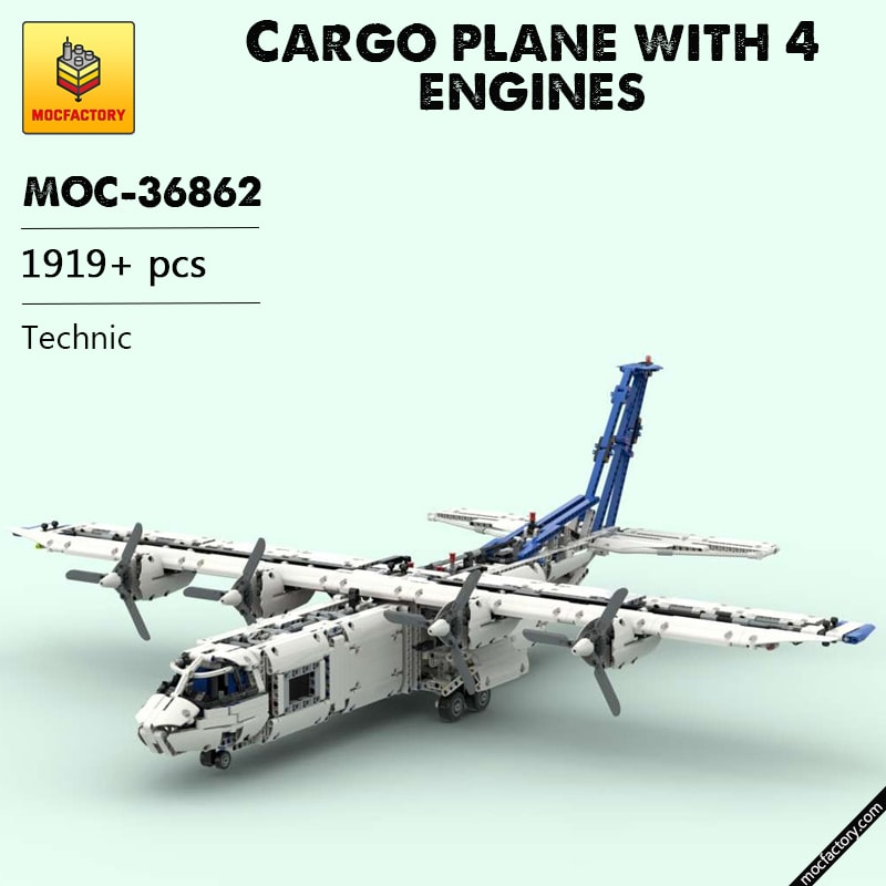 MOC 36862 Cargo plane with 4 engines Technic by zz0025 MOC FACTORY - MOC FACTORY