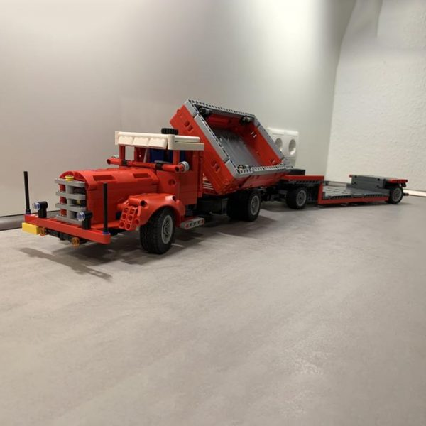 MOC 47757 Side Dumper Truck with Low Loader Trailer Bussing 42098 C Model Technic by time hh MOC FACTORY 5 - MOC FACTORY