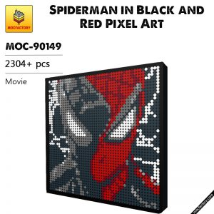 MOC-90149 Movie Spiderman in Black and Red Pixel Art  MOC FACTORY